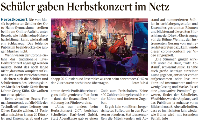 Herbstkonzert 2.0: Musikalisch im Netz